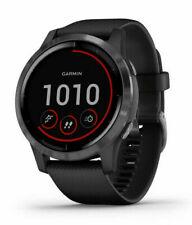 Garmin vívoactive 4 45mm Case with Silicone Band GPS Running Watch - Black with Slate Stainless Steel Bezel