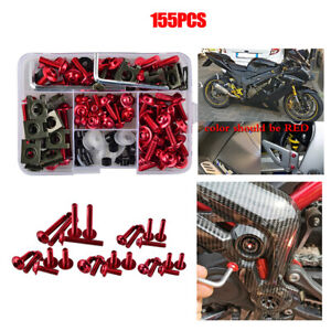 155x Mixed Red Motorcycle Accessories Fairing Bolt Body Frame Screw Clip Nut Kit