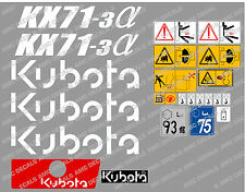 Kubota KX71-3 Mini Bagger komplette Aufkleber Satz mit sicherheit-warnzeichen