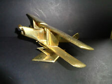 LARGE VINTAGE BRASS AEROPLANE  BI-PLANE DE HAVILLLAND TIGER MOTH?DESK TOP(ref54.