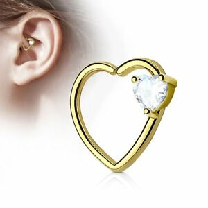 Piercing Cartilage Daith Gem Heart White Gold Plated