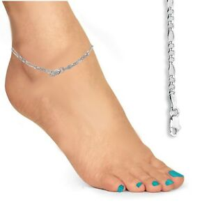 "14K Real White Gold Classic Figaro Ankle Anklet 10"" Inches 2.6mm"