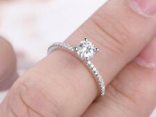 0.62 Ct Round Diamond Engagement Ring 18K White Gold Wedding Rings Size L M N O