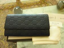 $750 GUCCI Ladies Icon Signature Continental Leather Wallet GG Blue ITALY - NEW!