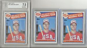 3 - 1985 TOPPS MARK MCGWIRE LOT - BGS 7.5 - ROOKIE #401 - OAKLAND A's