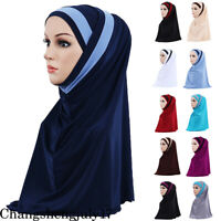2PCS Women Muslim Caps Hijab Scarf Islamic Arab Shawl Hat Head Cover Turban Lady