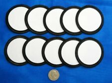 """10 Blank Fabric Patches 2.5"""" Round White Black Crafts Scouts Scrapbooking Awards"""