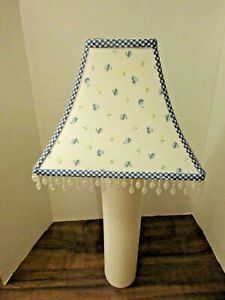 Laura Ashley 4-Sided Cloth Lampshade 7.5 Small Flowers  Beaded Fringe