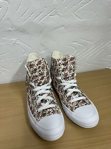 Converse Floral And Cream  High Tops UkWomen 7 And Mens 5 Converse Badge Damaged