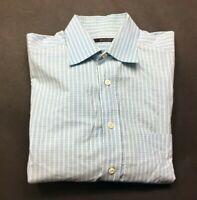 Billy Reid Mens Blue Plaid Long Sleeve Button Front Shirt Size Medium