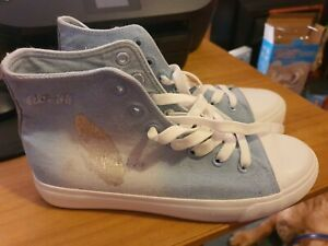 Emilia denim blue canvas trainers hi top ankle pumps Size 41