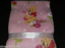 BABY BLANKET DISNEY WINNIE POOH PIGLET PINK FLOWERS NEW FLEECE SOFT POLKA DOTS