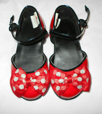 Disney shoes toddler 7/8 red sparkle polka dot bows ankle strap