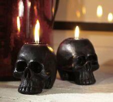 NEW Pottery Barn Halloween 5 Mini Black Skeleton Skulls Candles Votives SOLD OUT