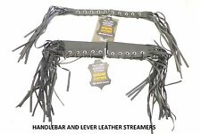 "Motorcycle Leather Grip and Lever Combo 12"" Fringe Streamer Tassel Handlebar"