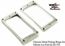 NEW - Metal CHROME Humbucking Slanted Pickup Rings, Curved Bottom - for Gibson