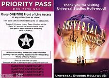 1 NEW Universal Studios Hollywood Front of the Line Priority Passes GATE A