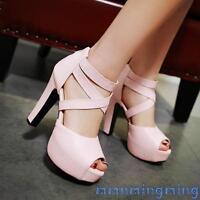New Womens Platform Open toe Ankle strap Block High heels Sandals Summer shoes