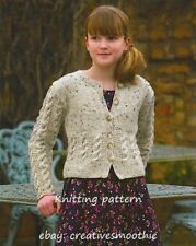 (39) Aran Knitting Pattern for Cable Cardigan, Tunic and Snood, 28-46''
