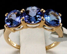 2.68cts Genuine AAA Tanzanite Trilogy 10k Solid Yellow Gold Ring, Size 6