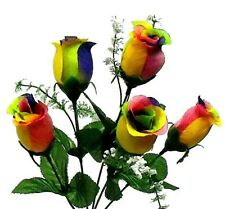 5 Rainbow Roses Artificial Silk Wedding Flowers Bouquet Centerpiece Lgbtq Fake
