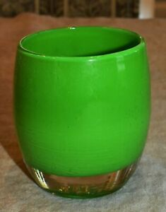 """Glassybaby """"Lucky"""" Forest Green Hand Blown Glass Votive Candle Holder"""
