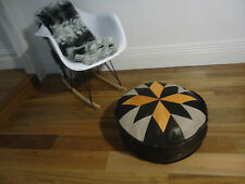 Beautiful Leather Ottoman for use as Coffee Table or Pouf or Pouffe - Multi