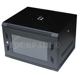 """6U Wall Mount IT Server Network Cabinet Rack Enclosure Glass Door Lock 18"""" Deep"""