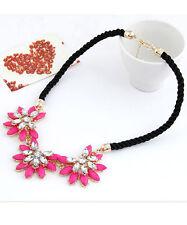 Halskette Nr.3 Kette PINK Gold Blumen Zirkonia Party Collier Damen Schmuck
