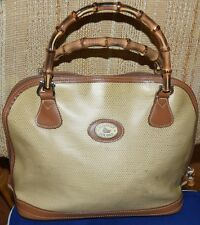 DOONEY & BOURKE PANAMA LGE BAMBOO HANDLE COLLECTION LINEN BRITISH TAN LEATHER