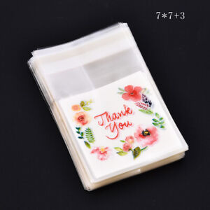 100pc Plastic Thank You Flower Cookie Package Candy Floral Bag Self-Adhesive ~