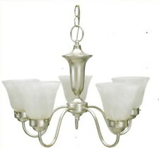 Silver Mist And Alabaster Glass 5 Light Chandelier
