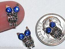 2 Pc Miniature dollhouse tiny Flatback crystal sparkly Blue OWL findings 13x8mm*