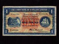 Scotland:P-S816,1 Pound,1954 * The Unuion Bank of Scotland Limited * VF *