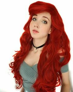 Probeauty Red Mermaid Wig Long Curly Wavy Halloween Cosplay Costume Wigs for ...