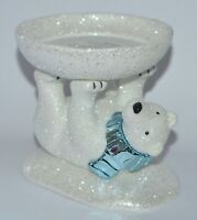 BATH & BODY WORKS CERAMIC POLAR BEAR PEDESTAL LARGE 3 WICK CANDLE HOLDER STAND