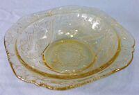 """Vintage Federal Depression Glass Madrid Amber 5"""" Fruit Dessert Bowl 1932-1939"""