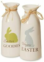 Set of 2 9 Inch White Easter Bottles with Easter Goodies Christmas Item