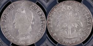 PCGS Graded AU55 - Bolivia 1863/2-PTS FP 8 Soles World Silver Coin