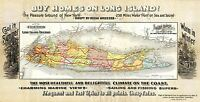 AD MAP ANTIQUE 1891 LONG ISLAND RAILROAD HOME LARGE REPLICA POSTER PRINT PAM1599
