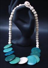 Joya Collar cadena de Madera Tablones 55cm Turquesa #9