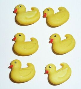 """Adorable Yellow Ducks Ducky Realistic Shank Buttons (6) 5/8"""" x 3/4"""" Rubber Ducky"""