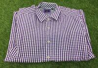 Hugh Boss Regular Fit Purple Check Long Sleeve Shirt Buttons Size L Chest 44in