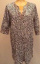Charter Club Intimates Sleep Shirt Black/White Geometric Neck/Sleeve Trim