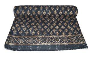 Vintage Block Print Kantha Quilt Blanket Indian Bedspread Coverlet Throw Art