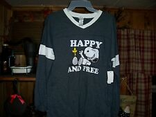 PEANUTS SNOOPY JUNIOR GIRLS LONG SLEEVE SHIRT SIZE LARGE 11-13 COLOR GRAY NEW