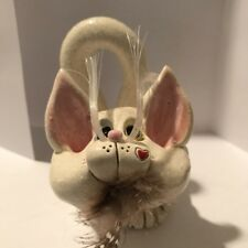 Sherri Pence Handmade Ceramic Bi Eyed Sphynx Cat Business Card Holder Figurine 4