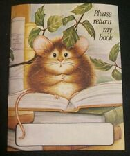 "Vintage Antioch Bookplate Cute worried mouse ""Please return my book"""
