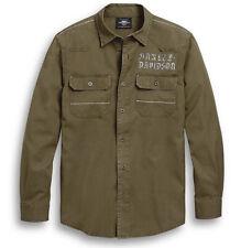 Harley-Davidson Men's Green Zig-Zag Stitch Woven Long Sleeve Shirt 96301-20VM