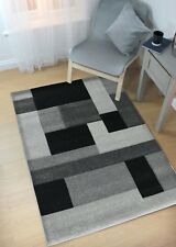 Hand Carved Cosmos Black Rug Soft Luxurious and Thick Hard Wearing 5 Sizes 160 X 230 Cm